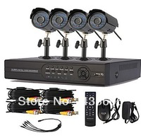 Home Security 4ch CCTV System CMOS480TVL Camera Network DVR Recorder 4ch Video Surveillance System DVR Kit