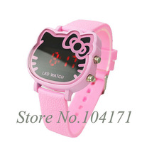 2014 New Cute Pink Hello Kitty Led Digital Watch For Ladies Fashion Rubber Watches 5 Colors TG2001M