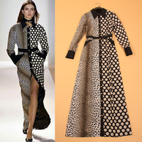 Free Shipping 2013 Fashion Sexy Leopard & Polka Dot Print Casual Elegant Expansion Bottom Long Sleeve Floor-length Dress