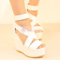 sapatos femininos de salto noiva Platform high heels black fashion scarpin bag summer wedges heel white platform