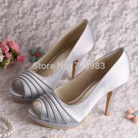 Custom Handmade Plus Size Peep Toes Purple Satin Wedding Shoes High Heel 10CM Free Shipping