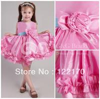 Free Shipping pageant gowns kids Taffeta Flowers/Sash little girls evening gowns Short/mini Romantic flower girl dresses 2013