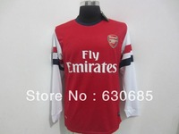 Hot sell 12/13 best quality Arsenal home red long sleeve soccer football jersey, soccer jersey, size:S-XL