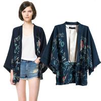 FS343 Fashion high quality batwing sleeve print kimono cardigan female