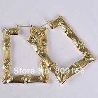 Fashion Maya Door Knockers Basketball wives Gold Tone and Rhodium Hullabaloo Huggie Rectangular bamboo Earring Jewelry