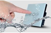 AC 110V~240V 50Hz~60Hz 2Gangs Europe UK Standard Wall Light Touch Wall Dimmer Switch White Crystal Glass Panel