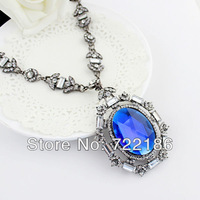 Latest Hot SaleFashion Christmas Present Round Big Size  Imitation Sapphire Ribbon Elegant Necklaces 2013 Women Innovative Items