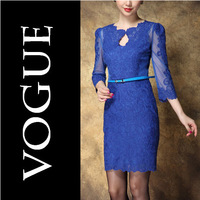 2014 New Arrival Autumn Women's Lace Embroidered Hollow European S-XXL Size Long Sleeve Dress Wholesale 5 Colors