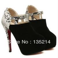 Free shipping sexy ultra high heels serpentine pattern heel platform strap women's shoes