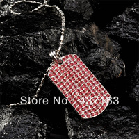"Dog Tag Pendant Full Stones pendant&necklace Hip hop style fashion jewelry with 36"" chains"