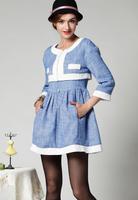 2014 new runway korean autumn Fashion vintage design pockets patchwork woolen twinset clothing suits S,M,L