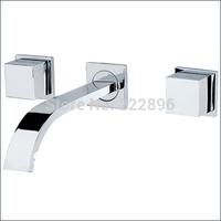 Brass Sink Chrome Square Bathroom Faucet Handles Washbasin Mixer Basin Water Tap Wall Lanos Torneira Banheiro Grifos Bathrom
