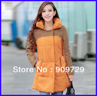 Free Shipping 2Colors Women Winter Stand Up Collar Thickened Coats Cotton Padded Jacket Ladies Warm Jacket Size