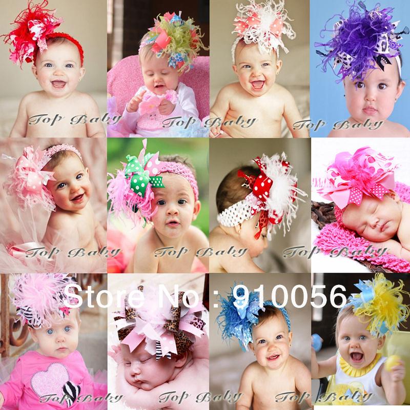 New Design Kids Baby Christmas Hair Band Feather + Silk Hair Accessories Flower Headbands Children Head We