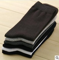 [Free] Black  White Light Gray Navy Brown Dark Gray  Winter Warm Comfortable 100% Cotton Solid Color Men's Business Socks
