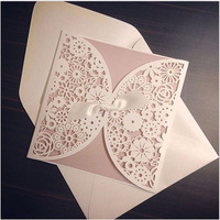 Free Shipping Square Laser Cut Invitations Wedding Invitation Card Envelope with Ribbon Wholesale 50 Sets Customizable