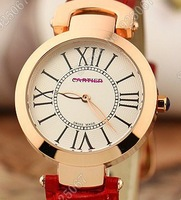 2013 fashion designer brand waterproof leather band round quartz wrist watch lady gold wristwatches for women, wholesale MP9