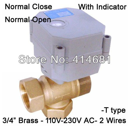 T20-B3-C 3 way actuated ball valve T type NPT/BSP 3/4'' AC110-230V,1.0Mpa for solar heating water reatment HVAC fan coil(China (Mainland))
