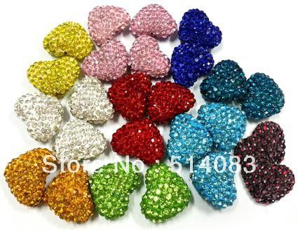 2014 novo da forma do coração de cristal de Shamballa Beads buraco através Beads 10 cores Escolha 23 * 18 milímetros Atacado 50pcs/lot Frete Grátis(China (Mainland))