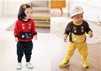 Free shipping Children's clothes children sport suit, fleece warm animal model lovely and fashion For 3-7 years old 2 colors