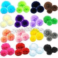 "Hot!New 48pcs mix 3 size (8"",10"",14"")   Tissue Paper Pom Poms flower 20colors wedding home party decoration"