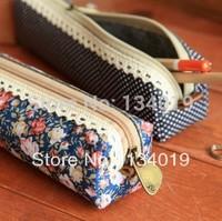 Wind elegant beauty, simplicity canvas, Polka Dot Floral pencil bag, pencil case