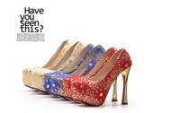 2013 new sexy lace nightclub ultra-shiny golden heels 868-10