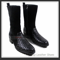 Free shipping new 2013 men's genuine cow leather boots,high-top boots,knitted leather boat shoes,black,38-44