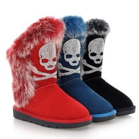 NEW 2013 women's designer brand thermal nubuck genuine leather rabbit fur rhinestone skull flat heel knee high snow boots shoes