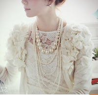 New big pearl beaded long design multi-layer elegant bride wedding princess necklace bubble fashion body chain jewelry for women