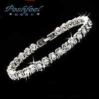 PF brand  HOT 925 silver & AAA swiss crystal & 18 K gold  platinum plated full crystal female bracelets Roman romantic charm