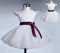 ZJ8003 2015 hot flower girl dress for wedding kids princess dress new arrival with rose