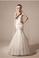 Luxury diamond decoration sweet lace slim waist and Mermaid bride wedding dress train Wedding Gown