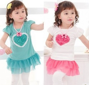 wholesale children's dress baby girl dress kids wear flower Princess T-shirt kids clothing Children free shipping