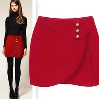 2014 Promotion Rushed Wool Short Skirts Womens Free Shipping Fashion Star Women's Xiebian Vintage Slim Hip Woolen Bust Skirt Bud