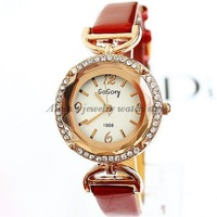 Free Shipping new 2013 Watches Women Fashion PU leather strap watches popular ladies watch women rhinestone watches