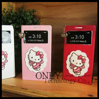 Cartoon Hello Kitty Flip Leather Case For Samsung Galaxy Note2, Note 3 N9000 S-View Window Leather Wallet Case Free Shipping