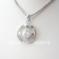 Free Shipping Fashion Jewelry 925 Sterling Silver Clear Cubic Zircon Charm Pendant  Necklace