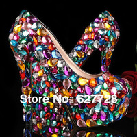 Rhinestone Wedding Shoes High Quality,Handmade Women Bridal High Heels