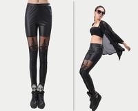 2013 Fashion Women's Leather Leggings for Women Pants Leather Pants leggins Lace Leggings women autumn Black lace leggings