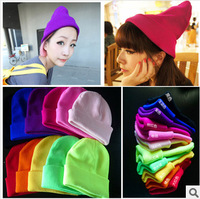 High Quality Hot Sell BIGBANG GD Harajuku Lovers Candy Color Fluorescence Hat Knitted Winter Wool Cap Men and Women GE