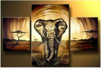 Free Shipping 3 Panel Canvas Abstract Art Pure hand-made ! Large OIL PAINTING Wall Decor - Elephant framed C/584