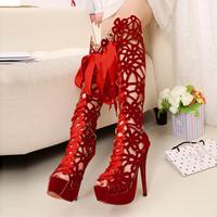 Platform Shoes Woman 2014 Designer Sexy Women's Knee High Gladiator Heels Pumps Sandals Red Bottom High Heels Sandals GG1050