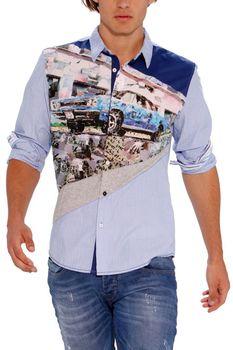 desigual spain brand mustang long sleeve print shirt men 2013 fashion M L 2XL free shipping 12*fashion