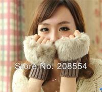 2pairs/lot 2013 women's Winter fur gloves/ fingerless gloves/winter gloves/ fingers protection g04s# Free Shipping