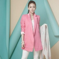 2013 female autumn formal ol pink linen fashionable casual elegant medium-long small suit jacket