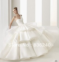 Hot Sale Custom Made Nice Tiered Organza Fashionable Women One Shoulder Wedding Dresses Dress