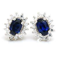 Luxury British Kate Princess Diana William Engagement Wedding Blue Sapphire Stud Earrings Set Genuine Solid 925 Sterling Silver