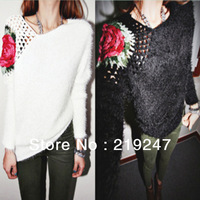 New style women's fashion asymmetrical one shoulder crochet pullover knitted sweater