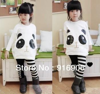 WholesaleNEW 2pcs sets girls long sleeve top+Striped bow leggings suits kids panda outfits fashion kids clothing childrens wears